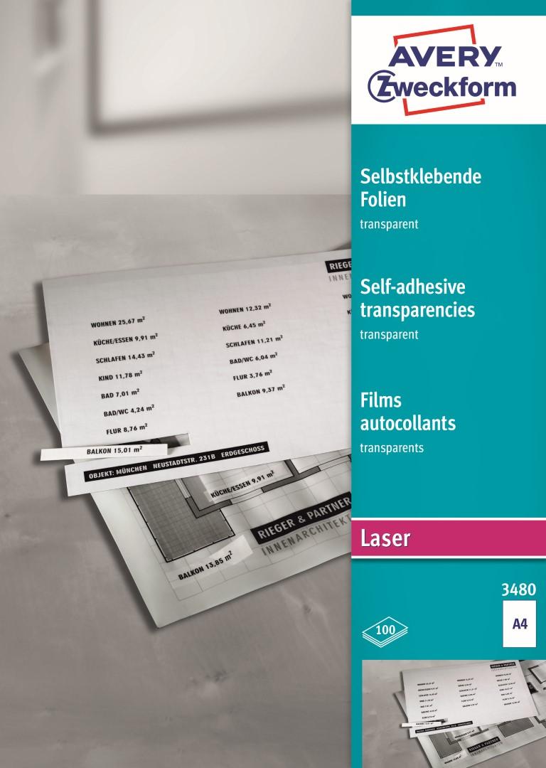 Avery Zweckform 3480   Transparentní samolepící fólie, formát A4, 100 listů v balení, polyester, tloušťka 0,14 mm, split s rastrem na rubu.