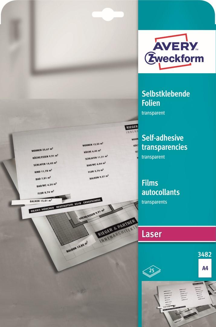 Avery Zweckform 3482   Transparentní samolepící fólie, formát A4, 25 listů v balení, polyester, tloušťka 0,14 mm, split s rastrem na rubu.