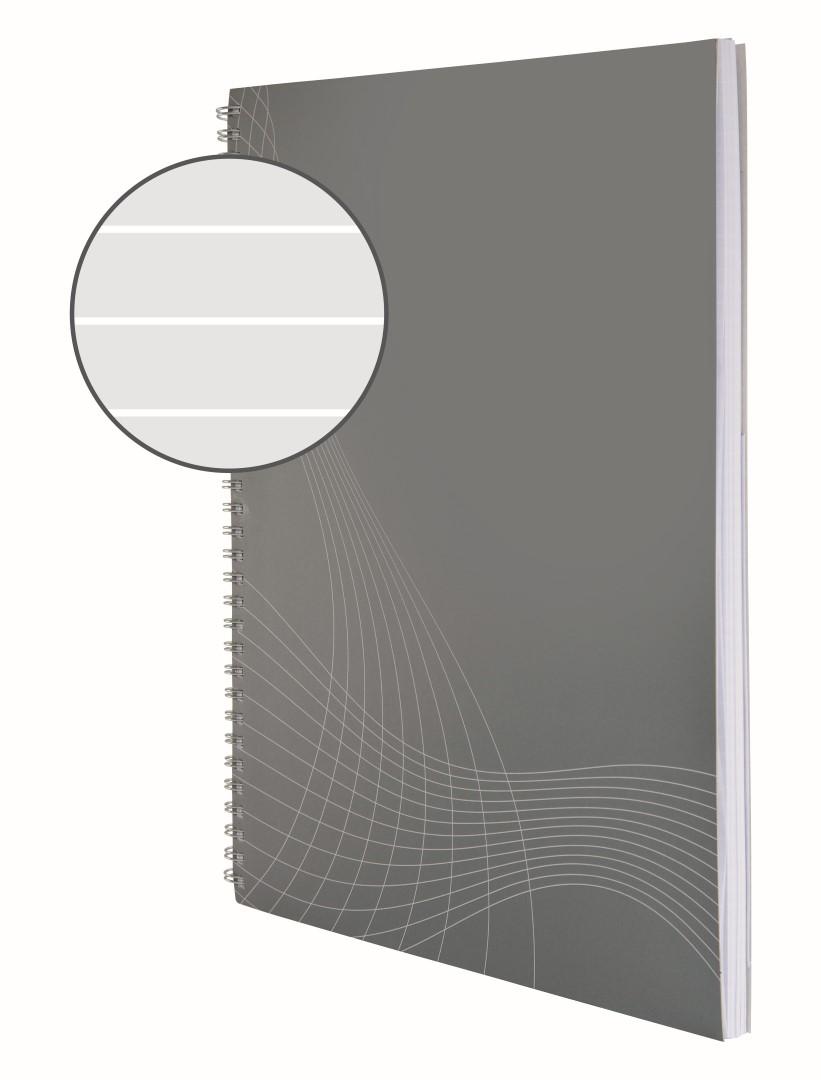 Avery Zweckform Notizio 7012   Poznámkový blok, formát A4, 80 listů, linkovaný papír, gramáž 90g/m2, dvoukroužková vazba, desky z měkkého kartonu.