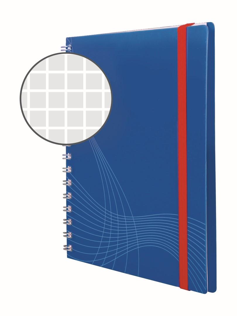 Avery Zweckform Notizio 7033   Poznámkový blok, formát A5, 90 listů, čtverečkovaný papír, gramáž 90g/m2, dvoukroužková vazba, desky z plastu (PP).