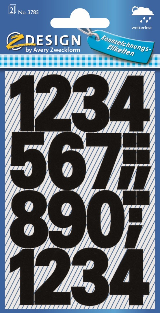 Avery Zweckform 3785 | Samolepící číslice, font Univers Bold 100 pt, výška 25 mm, barva černá, počasí odolná fólie.