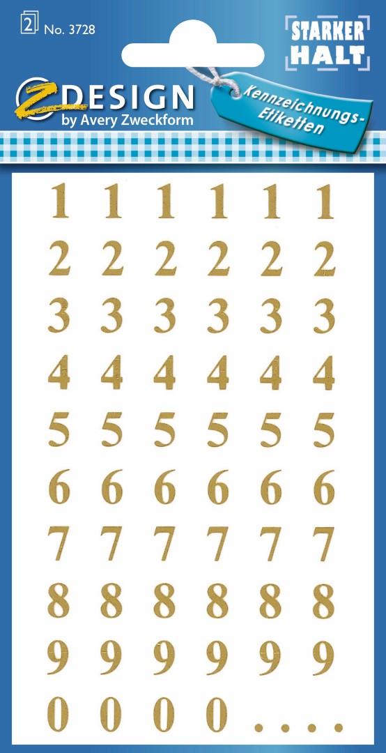 Avery Zweckform 3728 | Samolepící číslice, font Times Bold 30pt, výška 7,5 mm, barva zlatá na