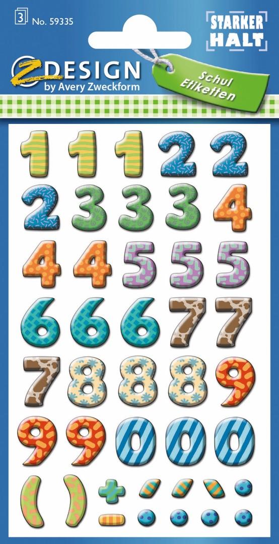 Avery Zweckform 59335 | Samolepící číslice, papírové, balení obsahuje 3 aršíky barevných číslic.