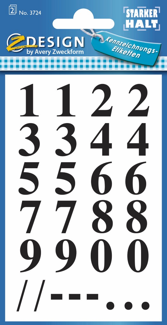 Avery Zweckform 3724 | Samolepící číslice, font Times Bold 62pt, výška 15,5 mm, barva černá