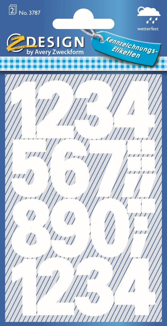 Avery Zweckform 3787 | Samolepící číslice, font Univers Bold 100 pt, výška 25 mm, barva bílá