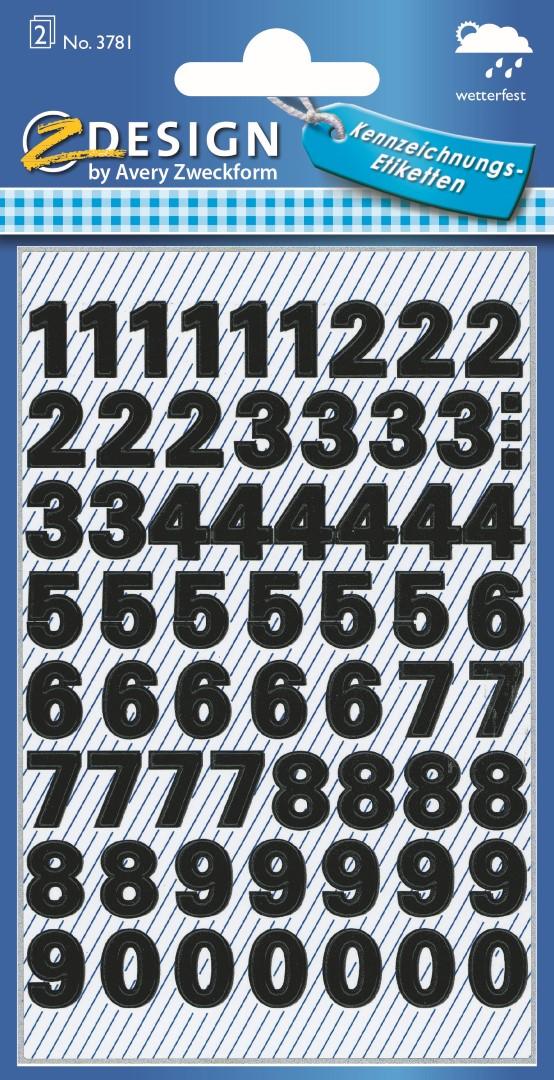 Avery Zweckform 3781 | Samolepící číslice, font Univers Medium 38pt, výška 9,5 mm, barva čern