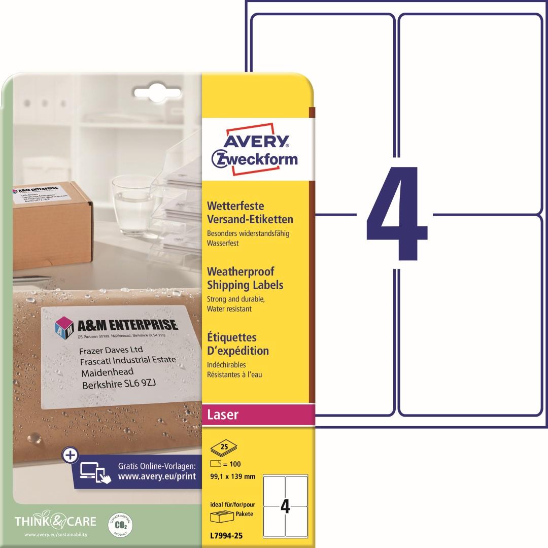 Odolné etikety na zásilky   Avery Zweckform L7994-25   99,1x139 mm, 25 listů A4, 100 ks etiket v balení, PET fólie, permanentní lepidlo, barva bílá.