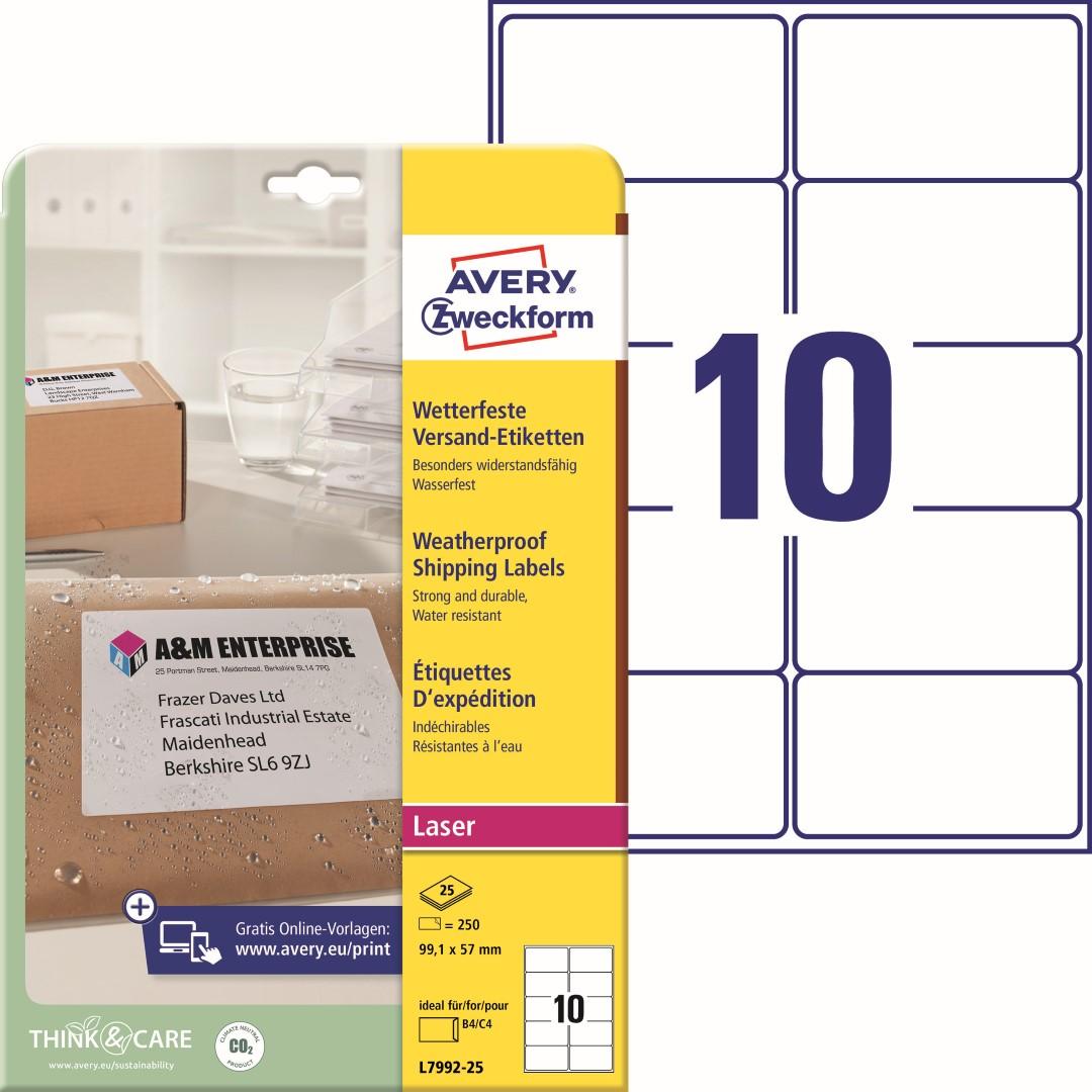 Odolné etikety na zásilky   Avery Zweckform L7992-25   99,1x57 mm, 25 listů A4, 250 ks etiket v balení, PET fólie, permanentní lepidlo, barva bílá.