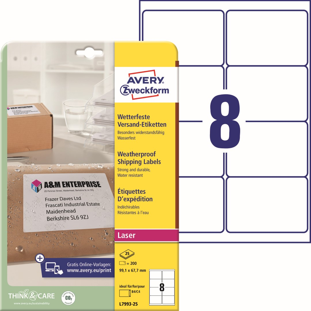 Odolné etikety na zásilky   Avery Zweckform L7993-25   99,1x67,7 mm, 25, listů A4, 200 ks etiket v balení, PET fólie, permanentní lepidlo, barva bílá.