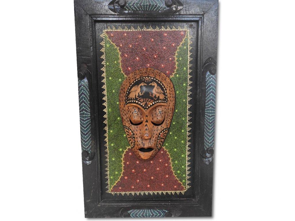 Obraz Lesního požáru s dřevěnou aboridžinskou maskou