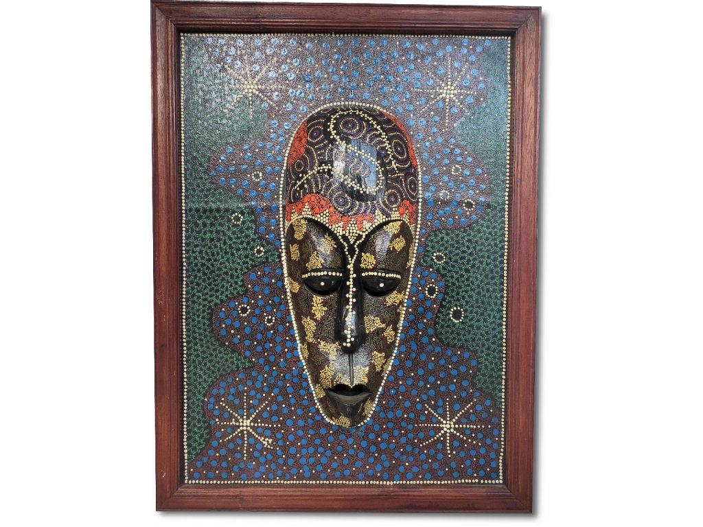 Australský obraz s dřevěnou aboridžinskou maskou v řece