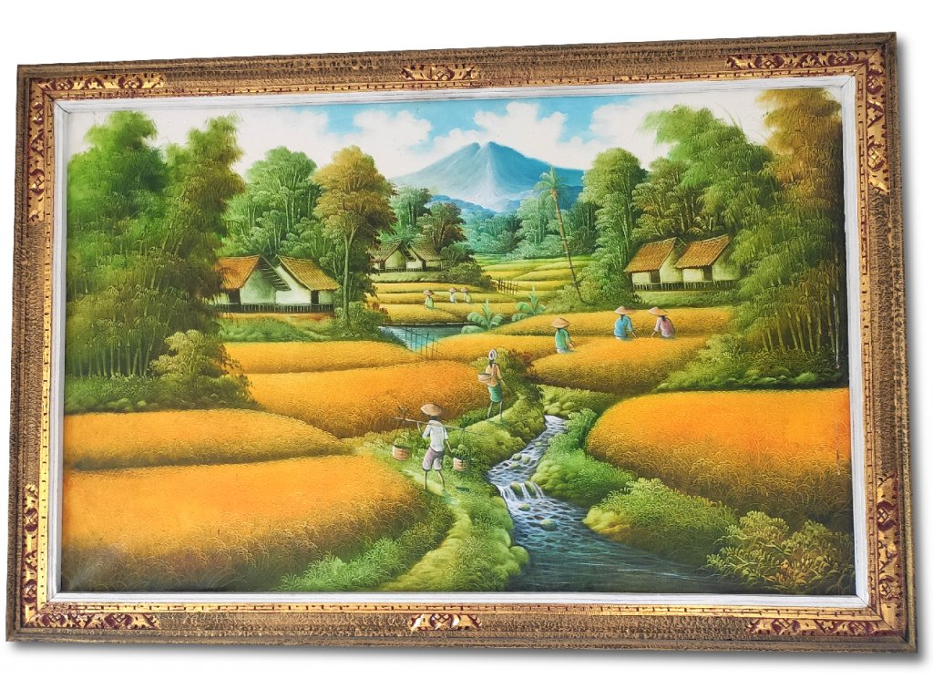 Obraz Asijská vesnička u říčky