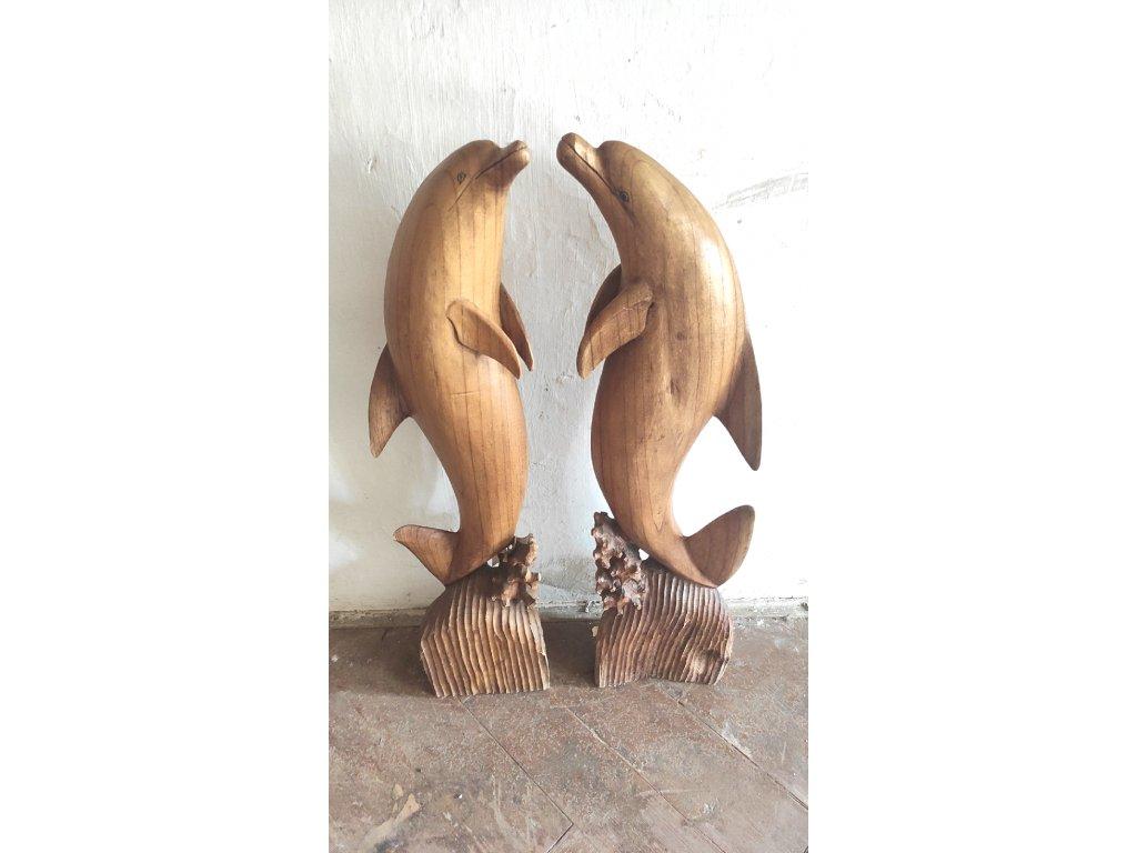 dřevěná : socha : delfín