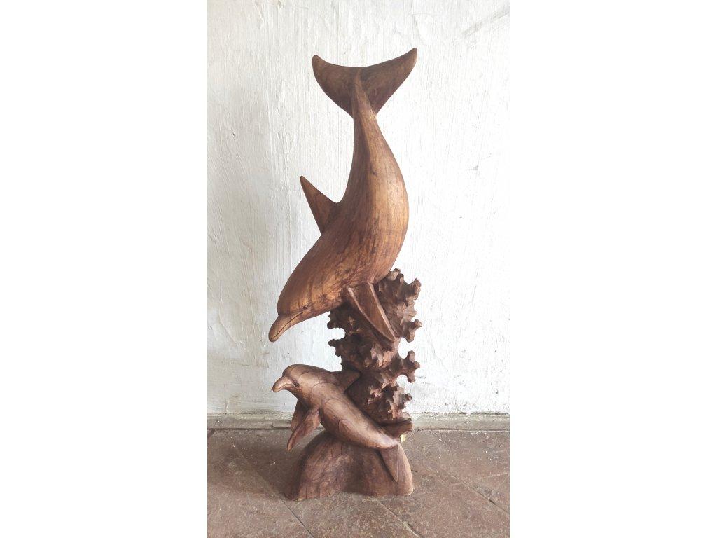 delfín : dřevěná : socha