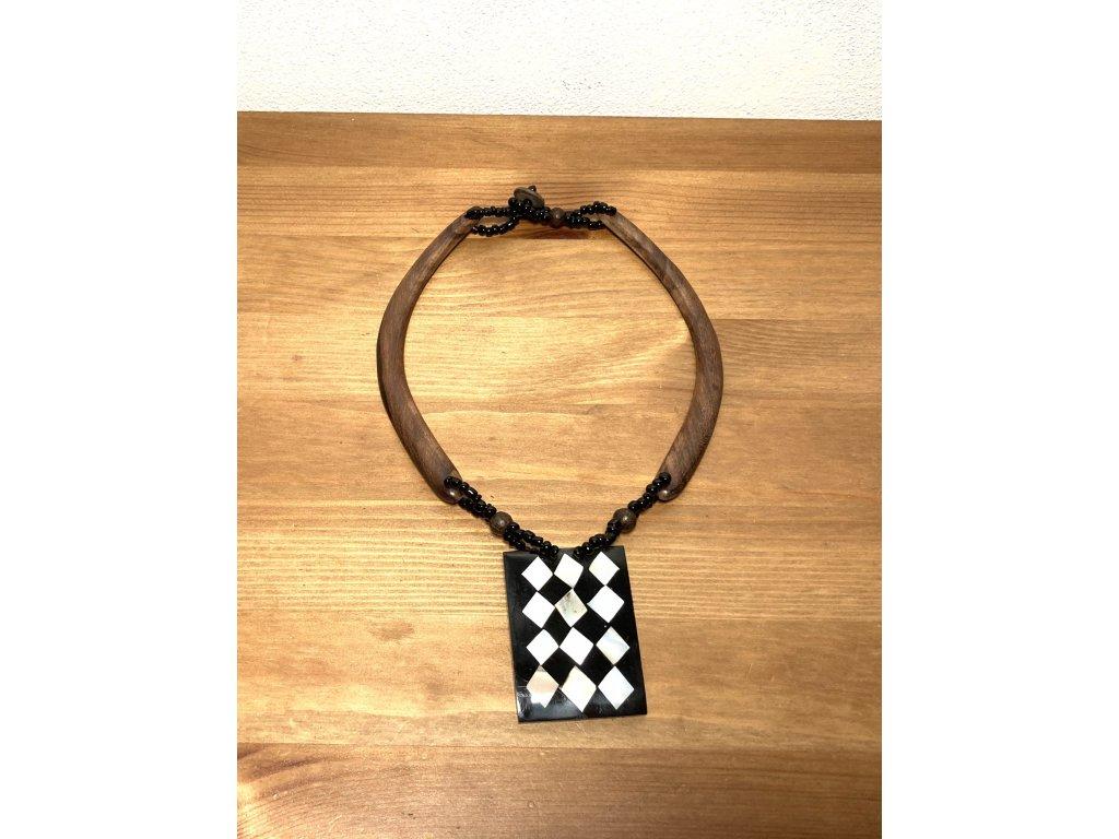 náhrdelník ento : dřevěný náhrdelník : perleť etno