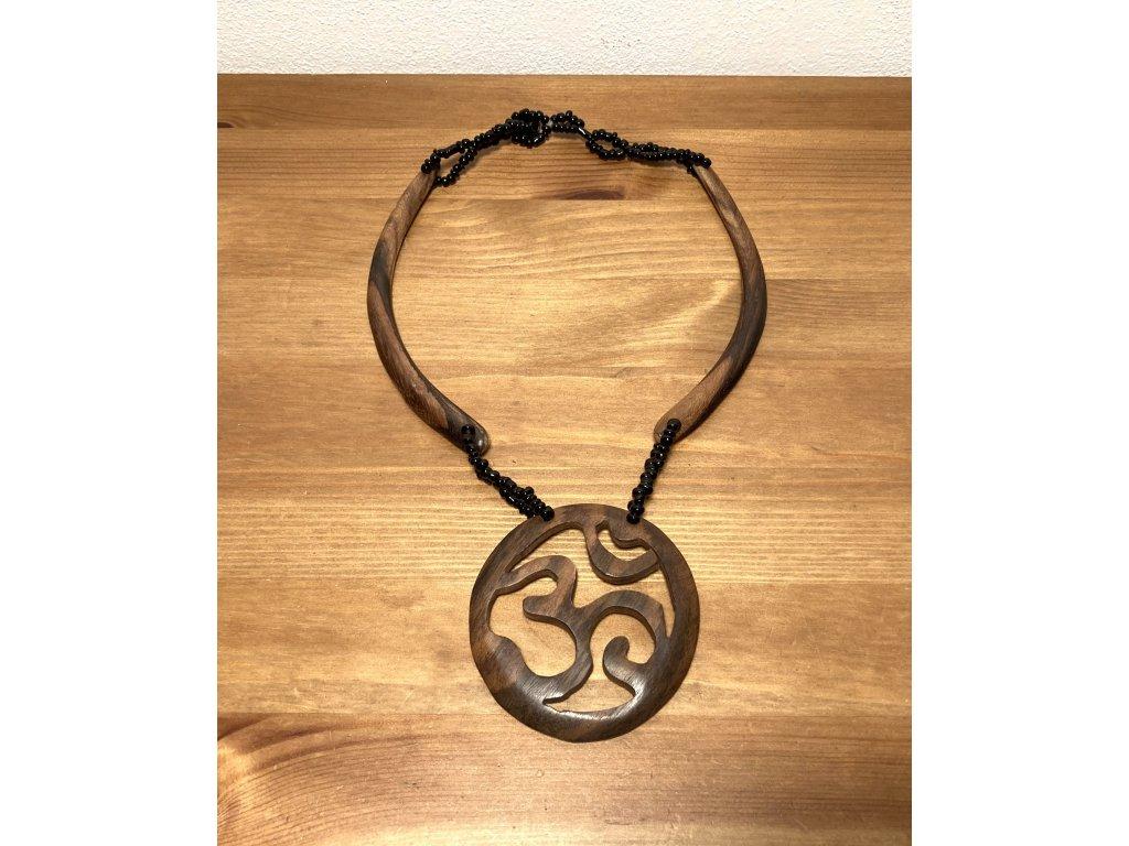 náhrdelník ornament : přírodní ornamenty : dřevěný etno