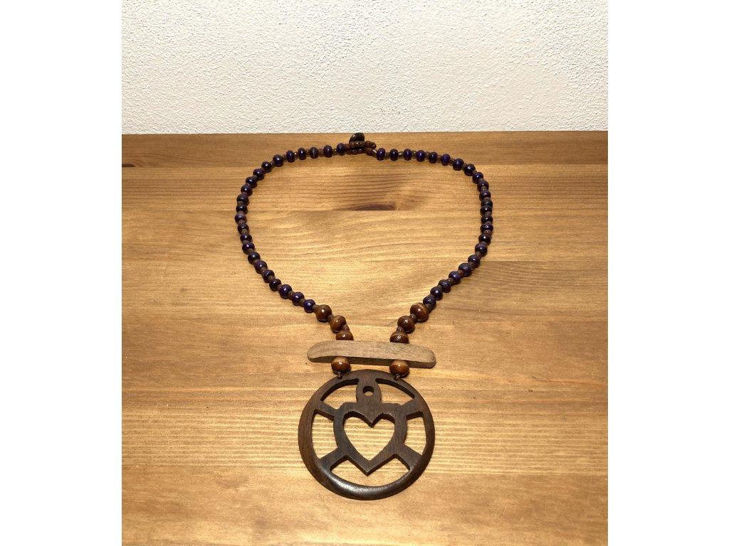náhrdelník se srdcem : přírodní náhrdelník srdce : náhrdelník etno