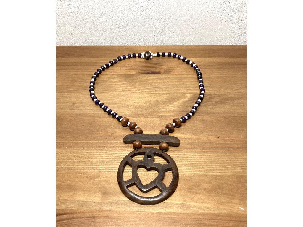 náhrdelník se srdcem : přírodní náhrdelník : náhrdelník etno srdce