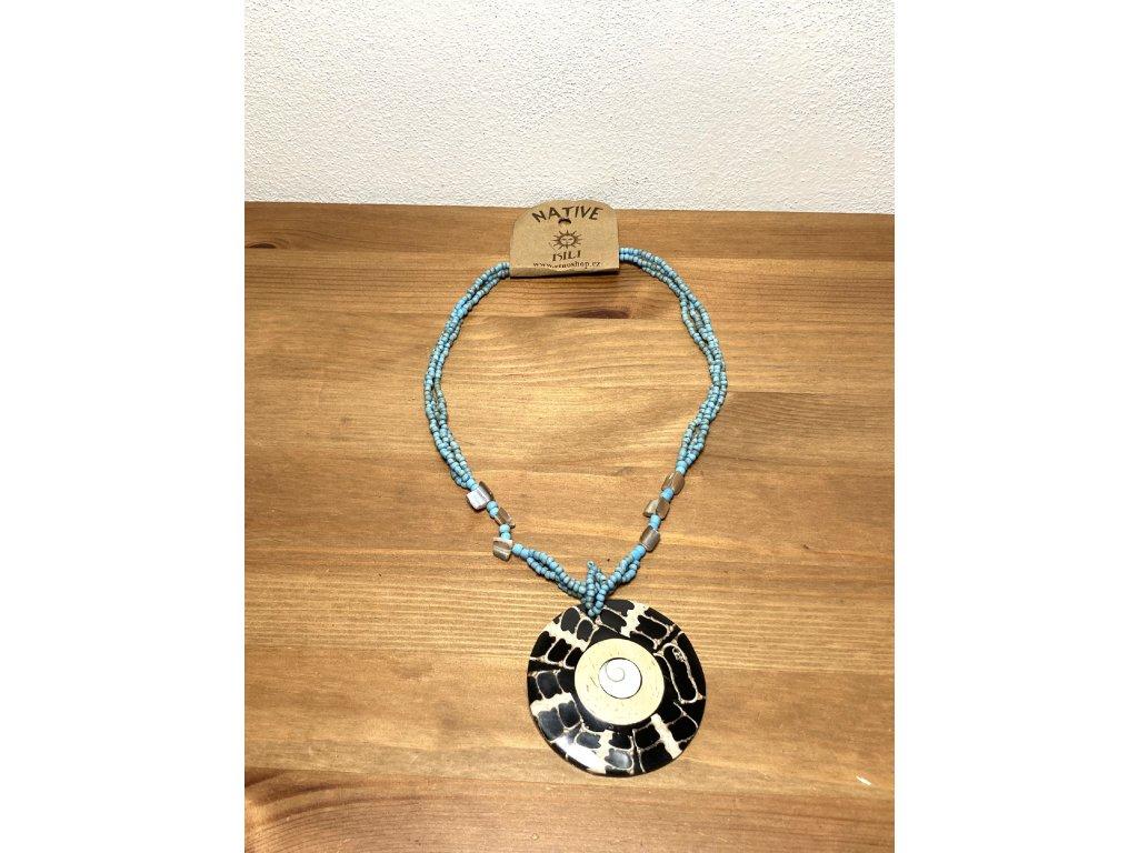 modrý náhrdelník : etno mušle : náhrdelník s mušlí