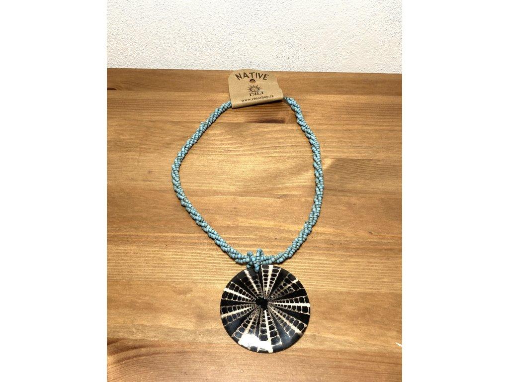 náhrdelník ze skla : náhrdelník mušle : náhrdelníl sklo