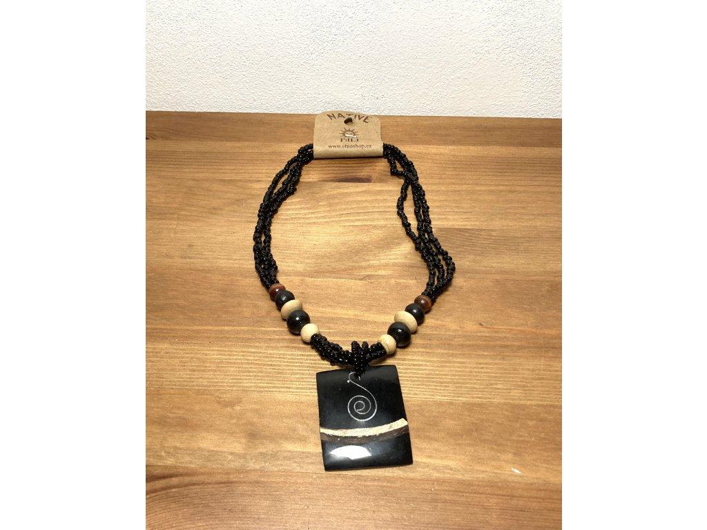 černé sklo : náhrdelník mušle : černá mušle