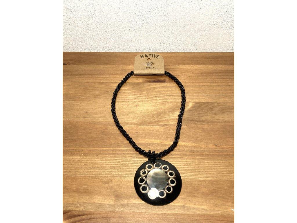 černé sklo náhrdelník : etno náhrdelník : černý náhrdelník
