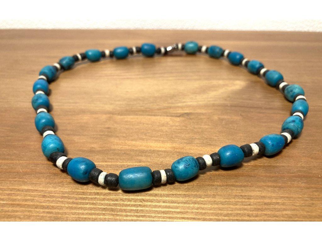 modré etno korále : korále modré : barevné etno korále