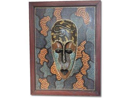 Dřevěná maska v etno obraze