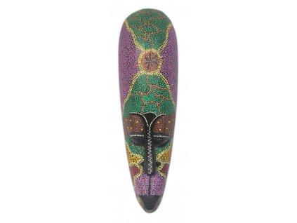 Dřevěná pestrobarevně zdobená australská maska