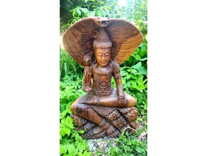 dřevěná socha boha Šivy s kobřím štítem velká