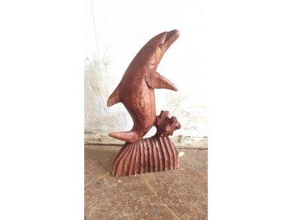 delfín : dřevěná : socha : etno