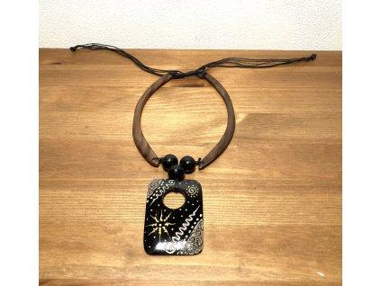 dřevěný etno náhrdelník : náhrdelník ze dřeva : černý náhrdelník