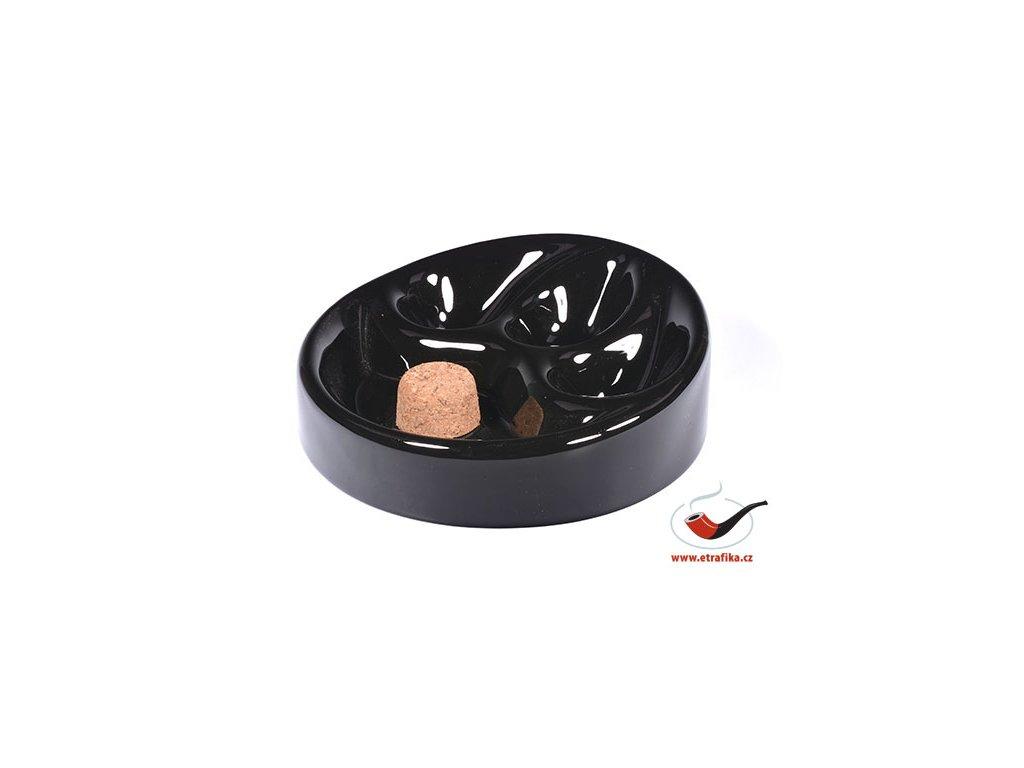 Dýmkový popelník keramický na 3 dýmky černý