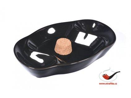 Dýmkový popelník na 2 dýmky keramický černý ovál