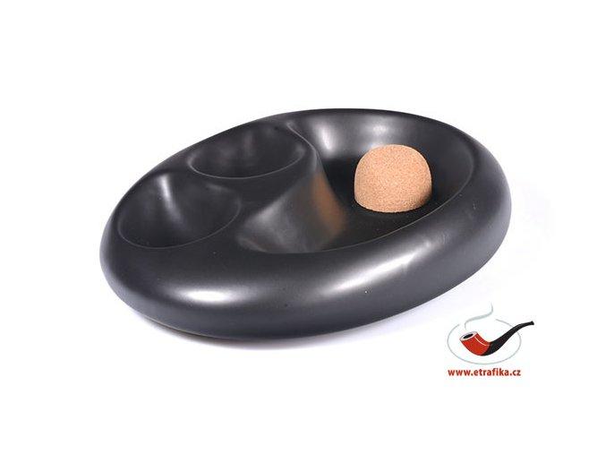 Dýmkový popelník keramický na 2 dýmky černý matný