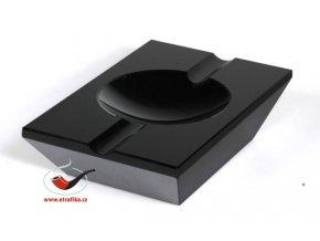 Doutníkový popelník křišťál černý 2D