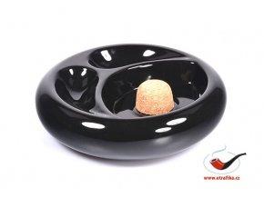 Dýmkový popelník keramický černý 28754 na 2 dýmky