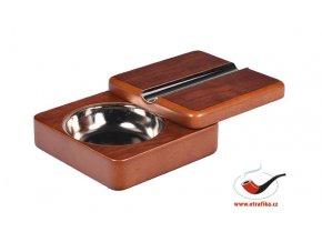 Doutníkový popelník skládací dřevěný hnědý