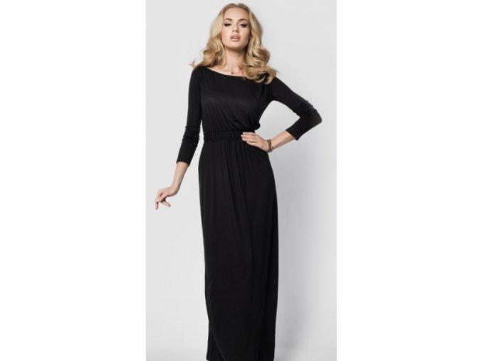 Elegantní dlouhé dámské šaty B008, dlouhý rukáv Černá