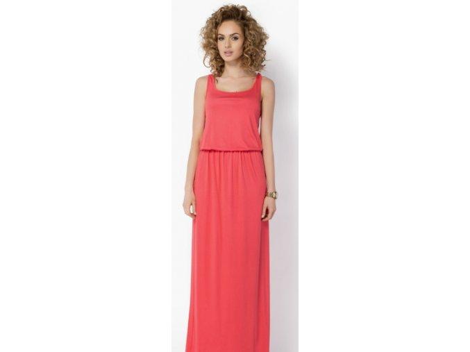 Dlouhé dámské a těhotenské šaty BeYou 021 na ramínka Korál
