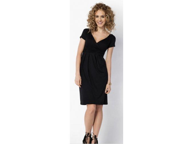 Dámské midi šaty s řasením v pase, krátký rukáv Černá