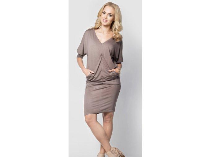 Těhotenské a dámské šaty s kapsami 013 Cappuccino