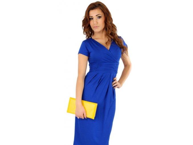 Dámské midi šaty s řasením v pase, krátký rukáv Modrá