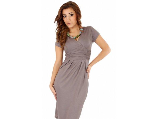 Dámské midi šaty s řasením v pase, krátký rukáv Cappuccino