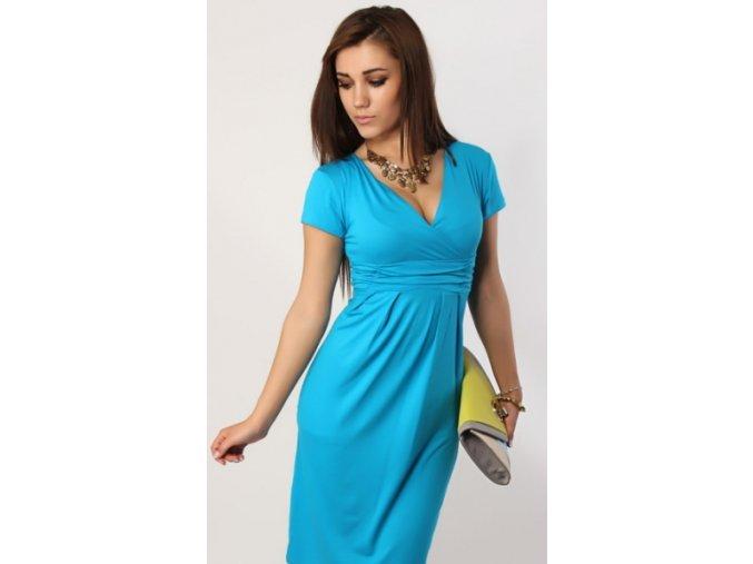 Dámské midi šaty s řasením v pase, krátký rukáv Blankytně modrá