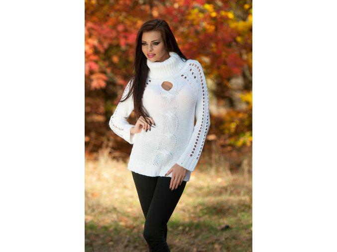 Tunikový svetr s rolákem a výstřihem Bílá