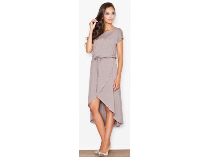 Dámské asymetrické šaty Figl M394 cappuccino1