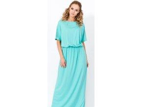 Elegantní dlouhé dámské šaty 004, krátký rukáv Máta