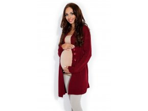 Dámský a těhotenský kardigan na zapínáním Hnědočervená