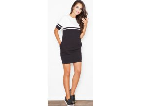 Dámské dvoubarevné šaty Figl M400 černá ecru2